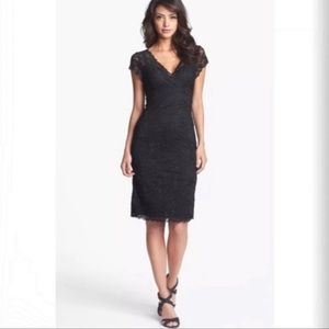 Marina little black sequin stretchy lace dress 12